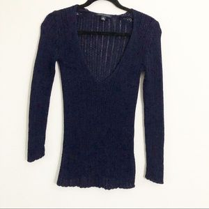 Banana Republic Navy Blue Cable Sweater